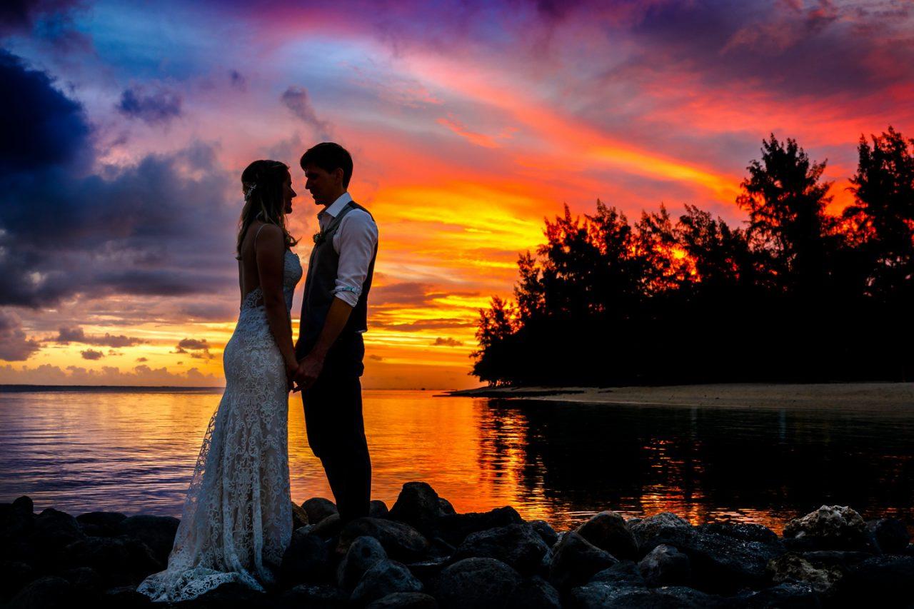 Hochzeitsfoto Mauritius im Sonnenuntergang
