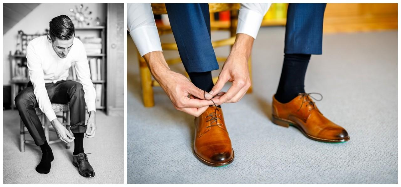 Der Bräutigam schnürt sich die Schuhe zu vor der Hochzeit in Köln