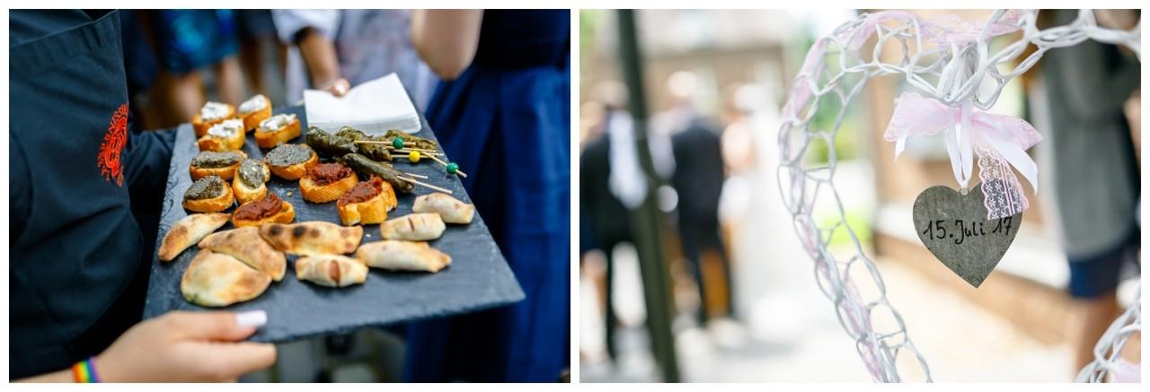 Häppchen zurm Sektempfang bei der Hochzeit in Köln