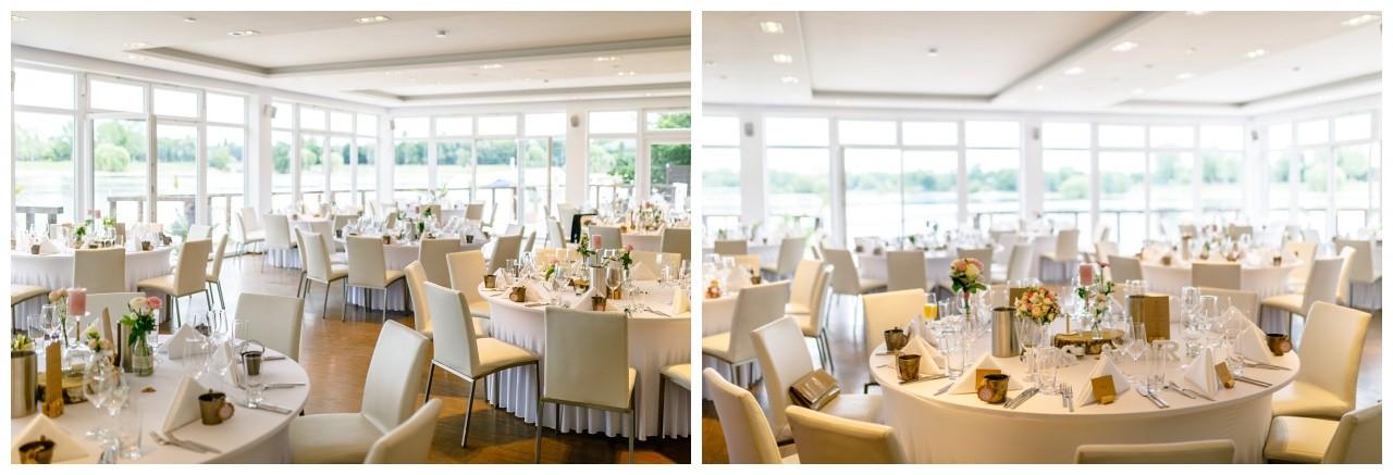 Tischdekoration zur Hochzeit im Seepavillon Fühlinger See