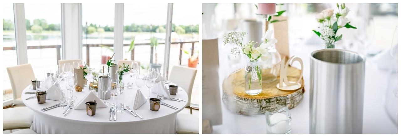 Tischdekoration zur Hochzeit im Seepavillon Fühlinger See in Köln