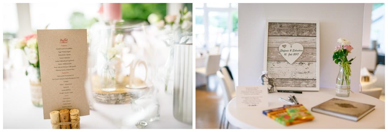 Tischdekoration mit Kraftpapier zur Hochzeit