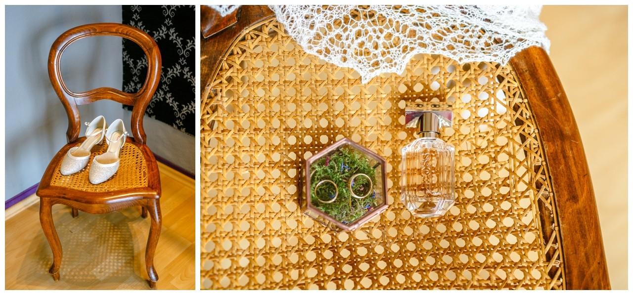 Die Brautschuhe und der Brautschmuck vor der Hochzeit in Wuppertal