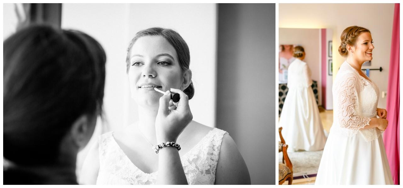 Getting Ready der Braut vor der Hochzeit im Elisenturm in Wuppertal