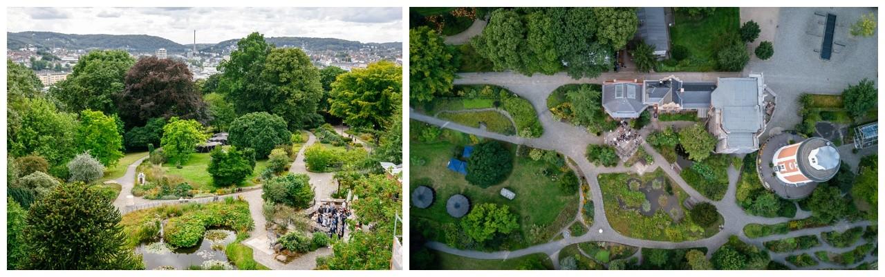 Die Hochzeitslocation Elisenturm in Wuppertal von oben
