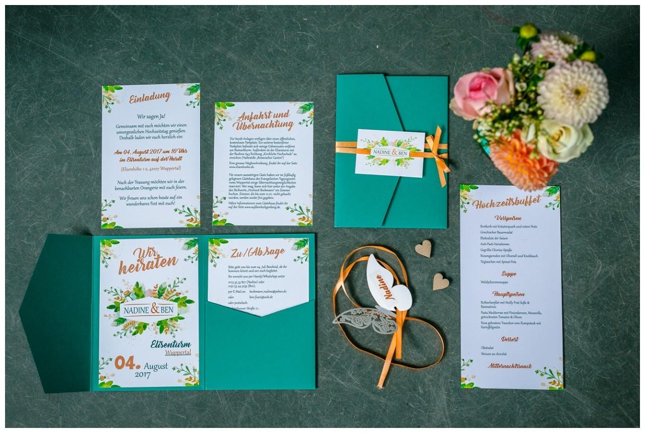 Einladungskarten Hochzeit in grün bei der Hochzeit in Wuppertal