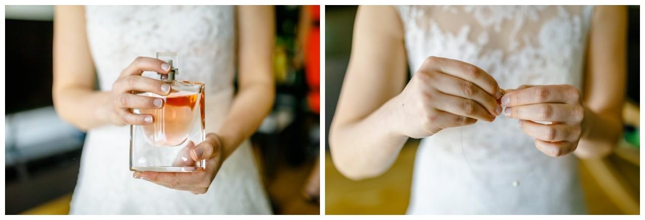 Parfum zur Hochzeit und Brautschmuck mit Perle bei der Hochzeit in Essen