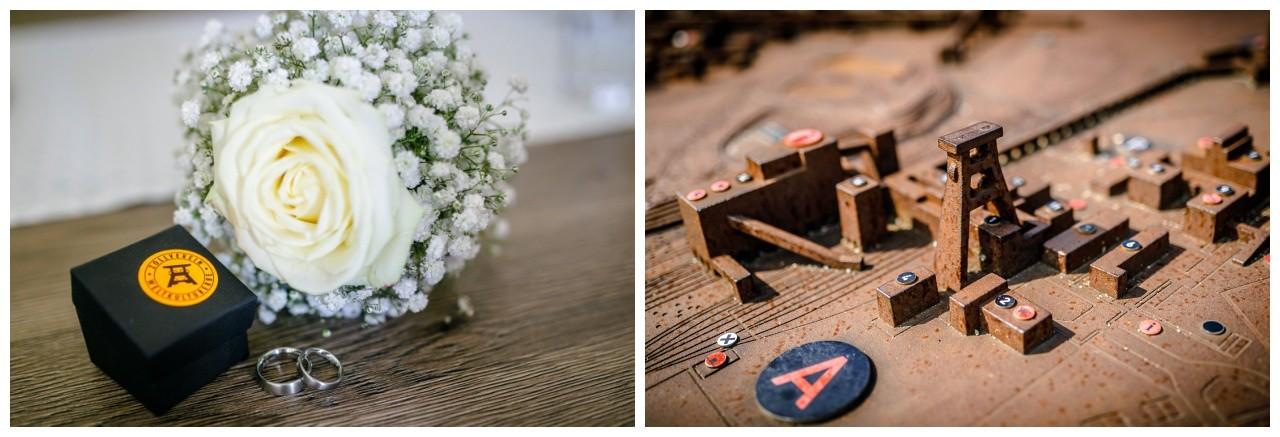 Hochzeit auf Zeche Zollverein, personalisierte Manschettenknöpfe