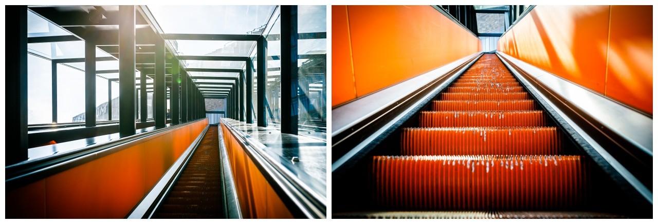 Die orangene Rolltreppe auf Zeche Zollverein fotografiert vom Hochzeitsfotografen Essen