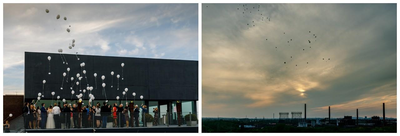 Luftballons steigen lassen zur Hochzeit Zeche Zollverein Essen