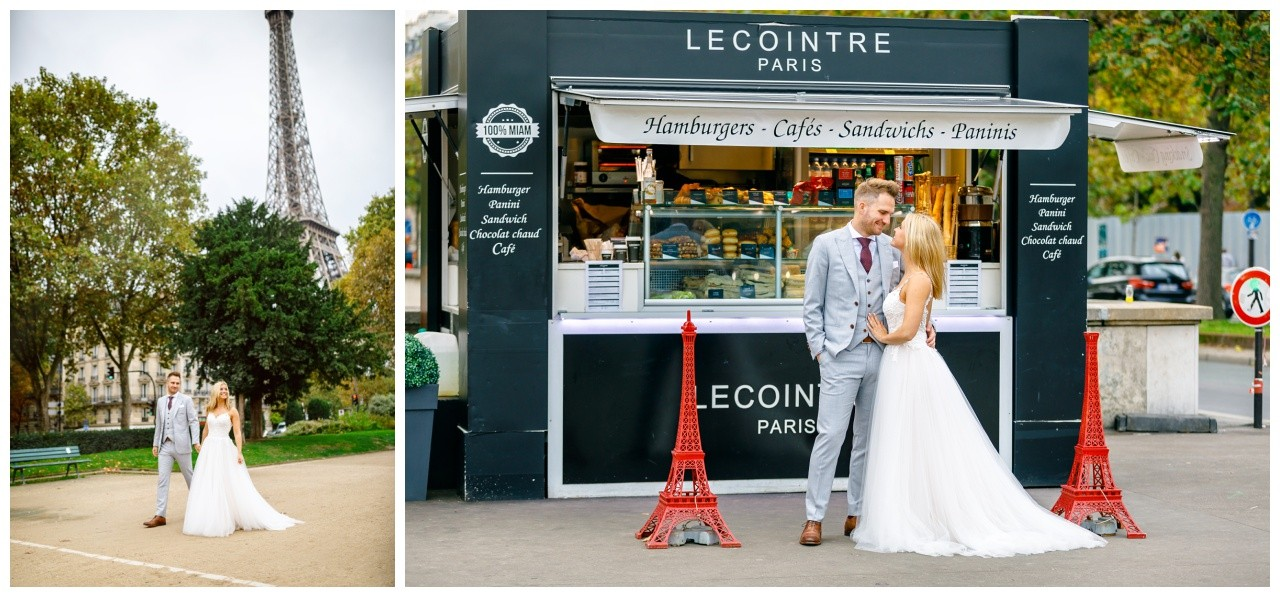 After Wedding Shooting in Paris, der Hochzeitsfotograf shootet das Brautpaar in der Stadt mit dem Eiffelturm.