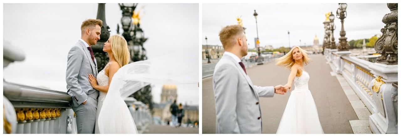 After Wedding Shooting in Paris, das Brautpaar lässt sich vom Hochzeitsfotograf Paris shooten.