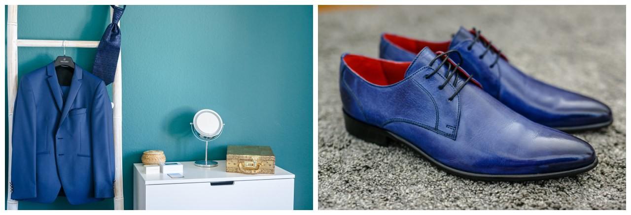 hochzeitsanzug in Blau mit passenden Schuhen für den Bräutigam