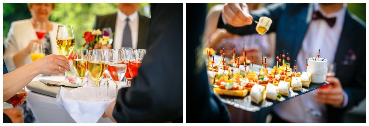 Fingerfood bei der Hochzeit in der Redoute in Bonn auf der Terrasse