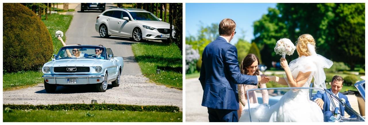 Hochzeitsauto Mustang zur Hochzeit