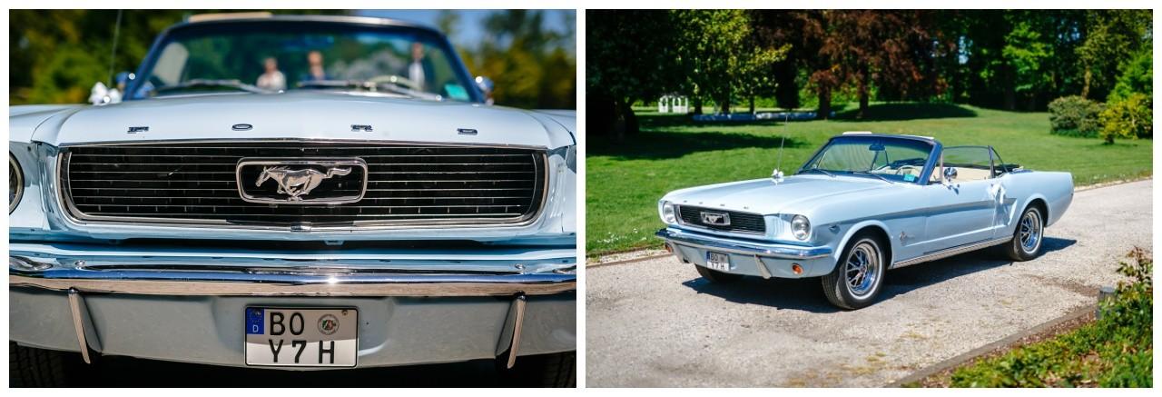 Mintgruner Mustang als Hochzeitsauto