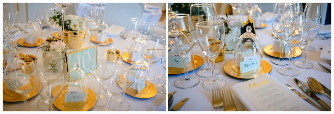 Hochzeitsdekoration gold und weiß