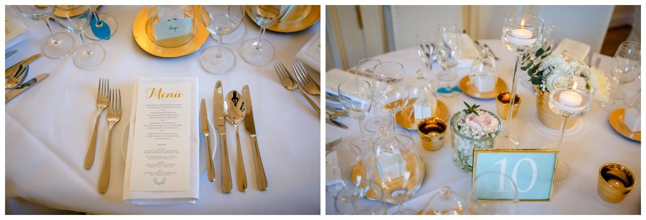 Tischdeko in Gold