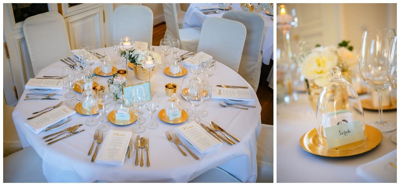 Hochzeitsfarbe Gold Tischdeko
