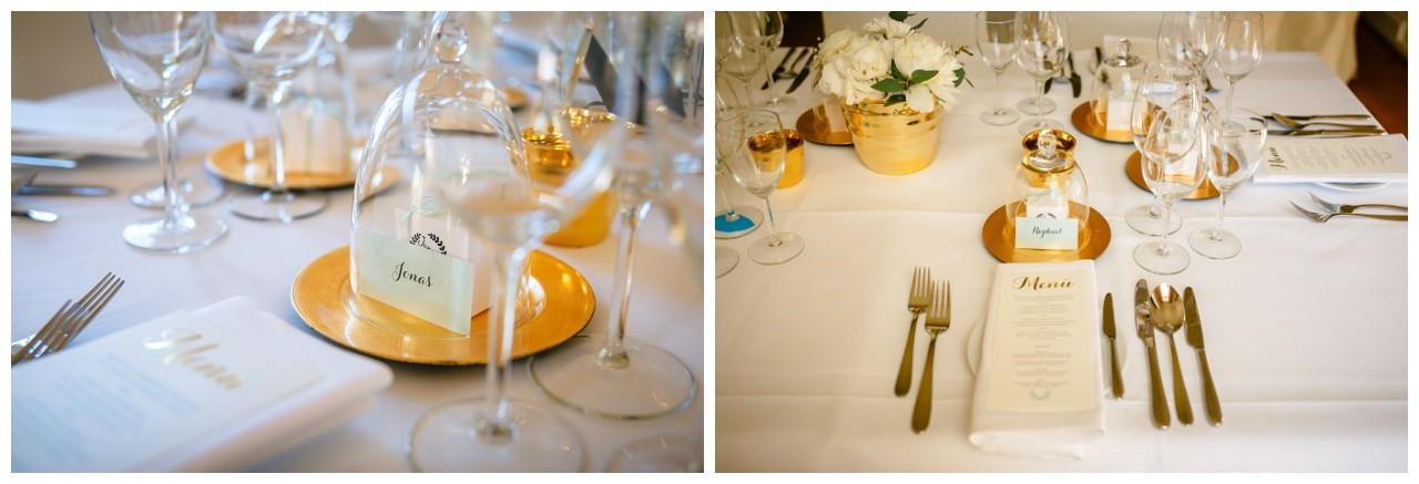 Hochzeitsfarben Mintgrün und Gold