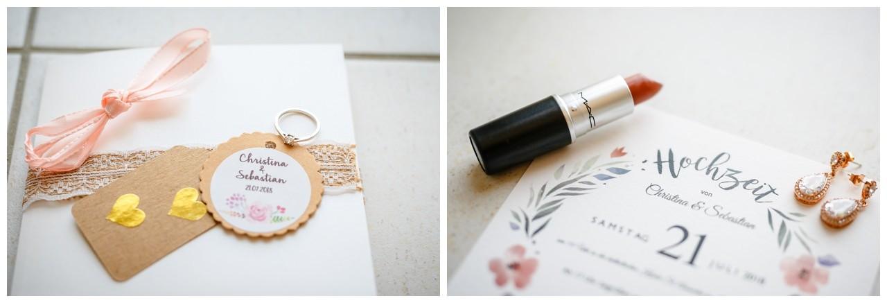 Einladungskarte zur Hochzeit. Papeterie mit Kraftpapier. Lippenstift von MAC.