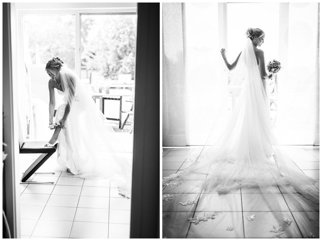 Die Braut vor der Hochzeit im Seepavillon Fühlinger See.