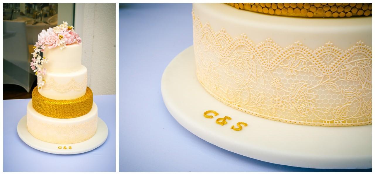Hochzeitstorte Gold-Rosa-Weiß.