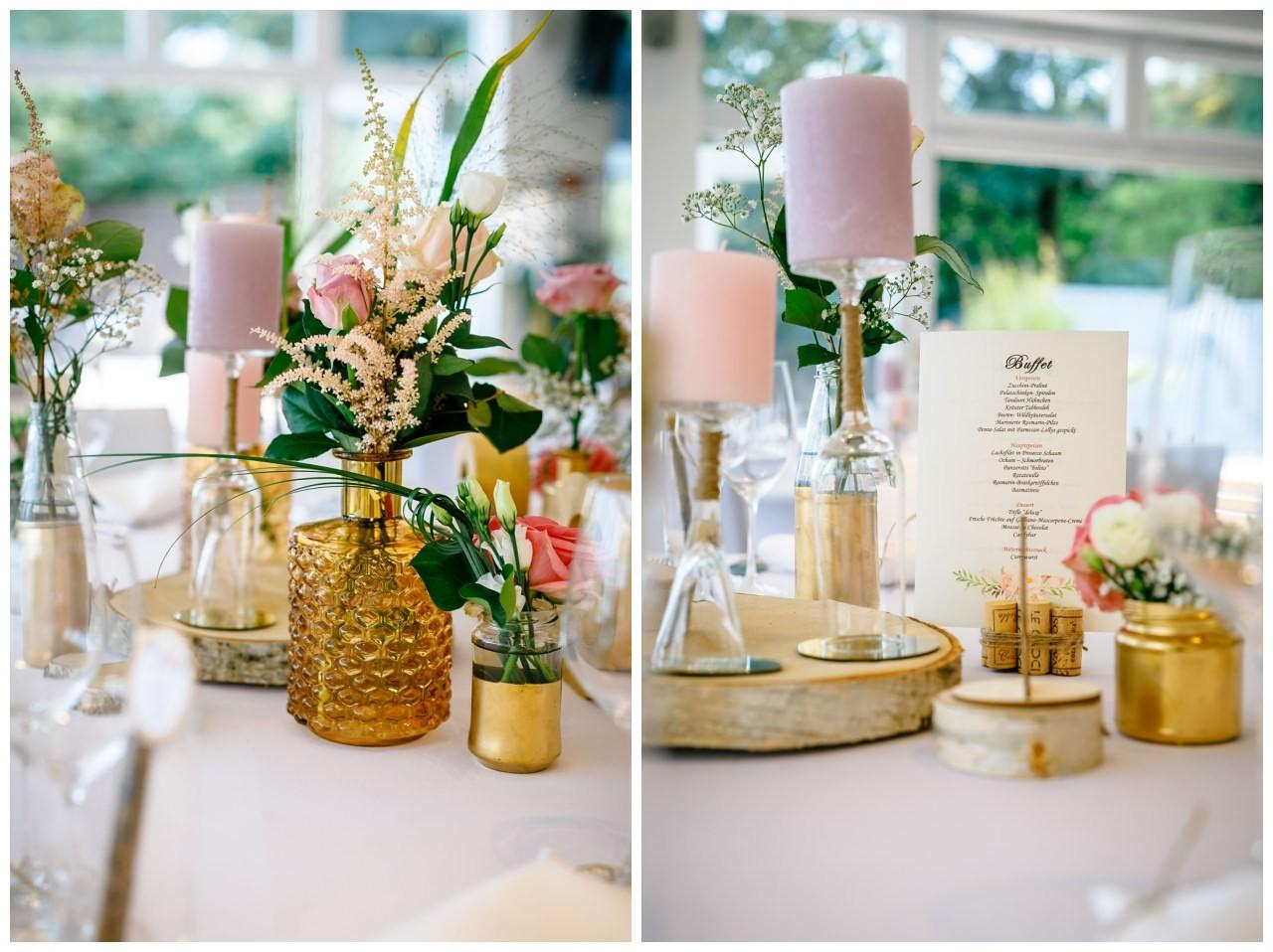 Tischdekoration zur Hochzeit im Seepavillon Fühlinger See in Köln.