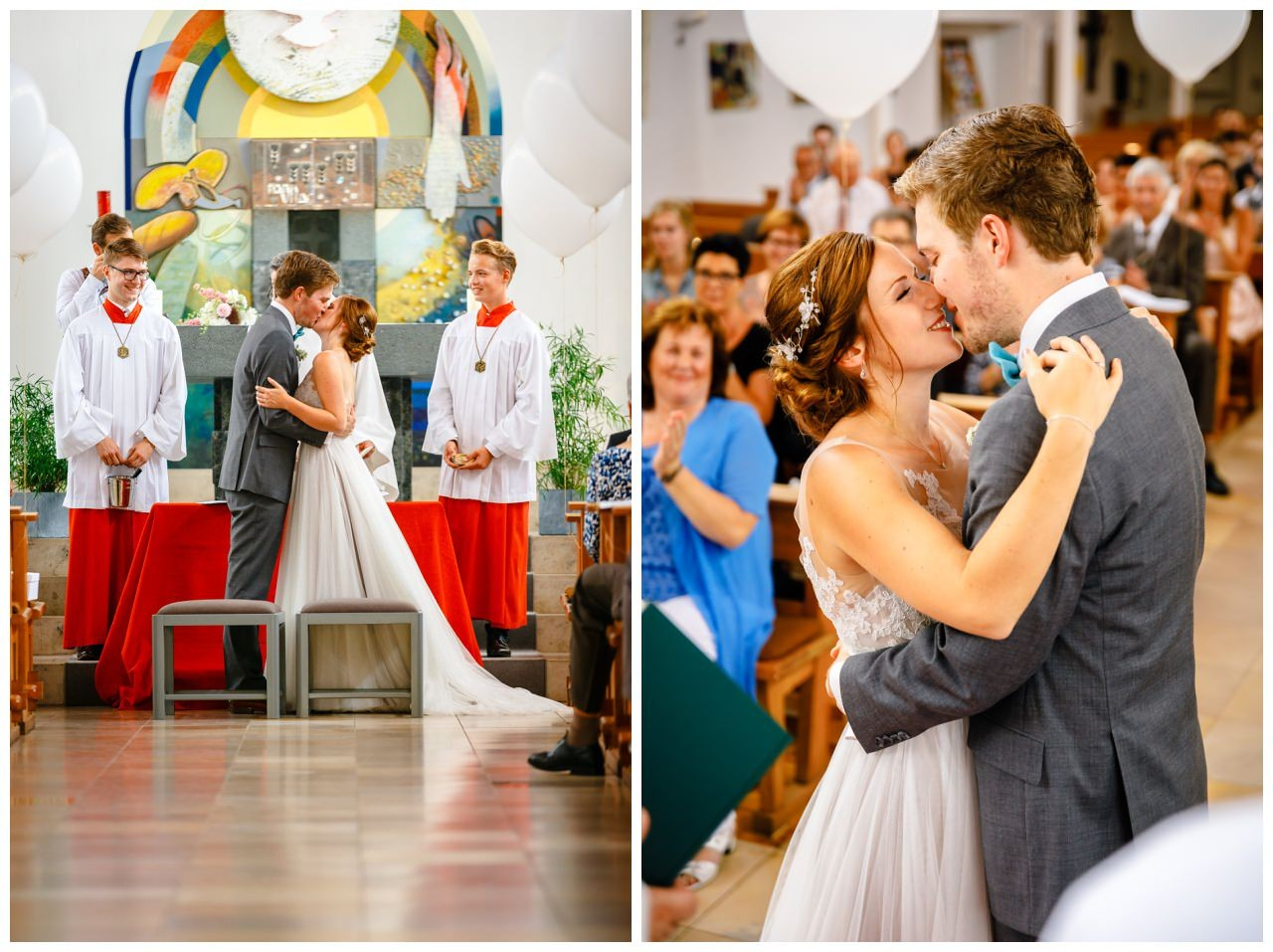 Hochzeitskuss bei der kirchlichen Hochzeit am Niederrhein.