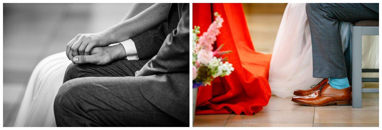 Details bei der Hochzeit in der Kirche.
