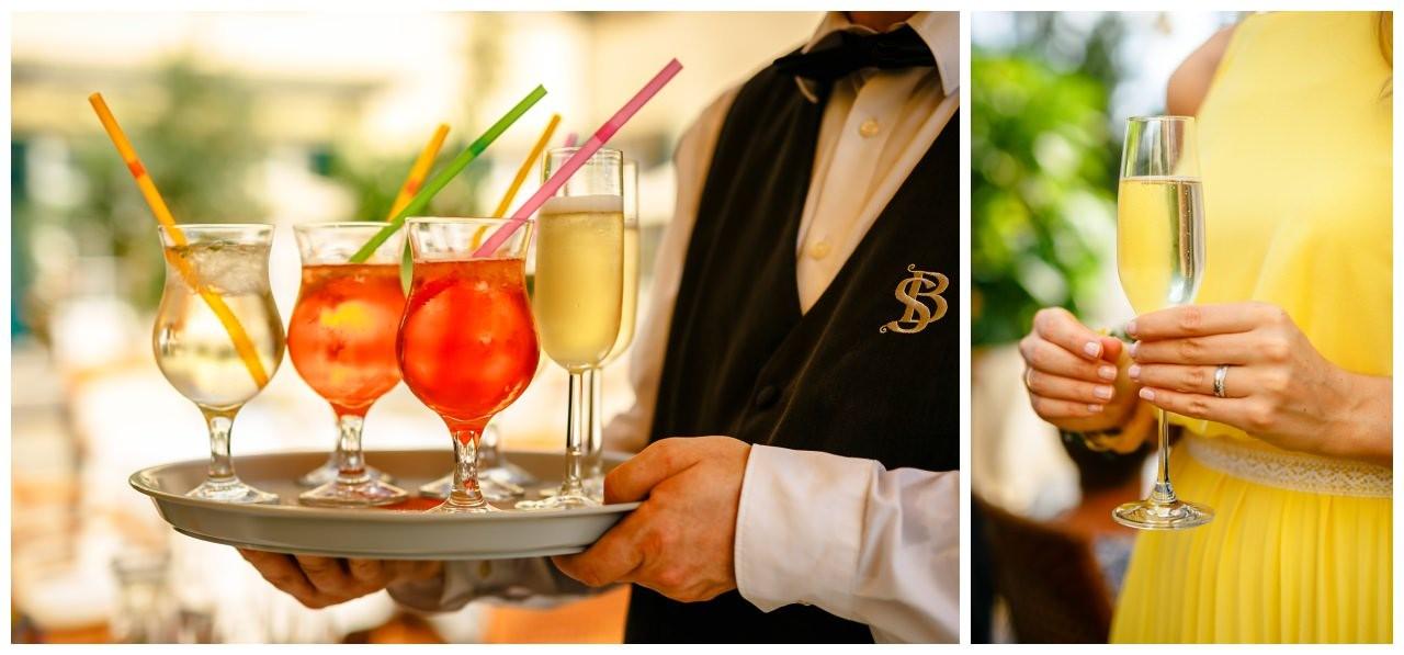Getränke beim Empfang zur Hochzeit auf Schloss Berge.