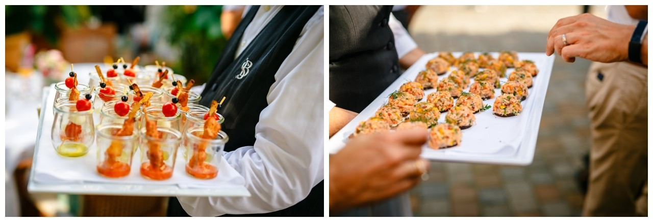 Fingerfood Häppchen beim Empfang zur Hochzeit auf Schloss Berge in Gelsenkirchen.