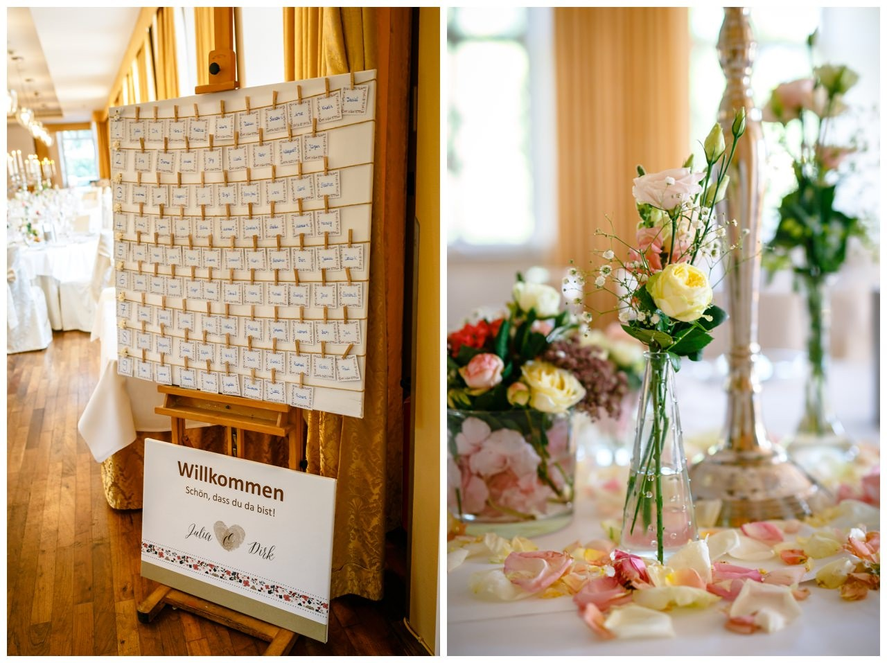 Sitzplan bei der Hochzeit auf Schloss Berge in Gelsenkirchen.