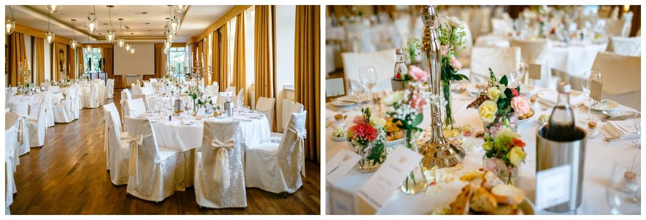Tischdekoration zur Hochzeit in Pastell auf Schloss Berge.