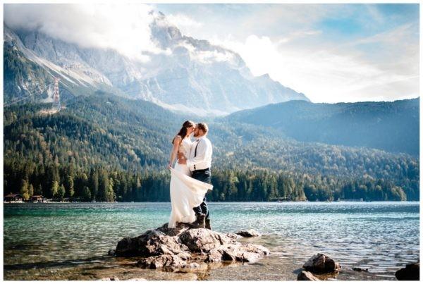 Hochzeitsfotos Eibsee Zugspitze Hochzeitsfotograf Bayern Berge