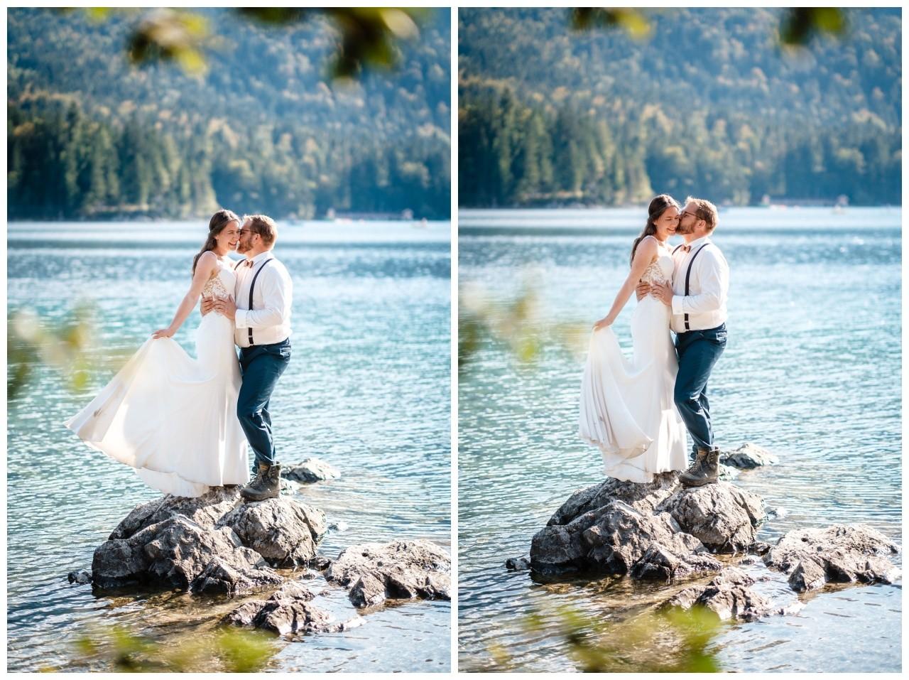 hochzeitsfoto eibsee zugspitze gamisch hochzeitsfotograf foto paarshooting 32 - Hochzeitsfotos am Eibsee