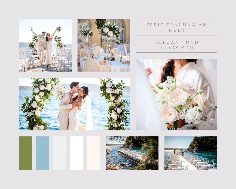 Beige and Pink Clean Grid Wedding Moodboard Photo Collage - Freie Trauung in Kroatien